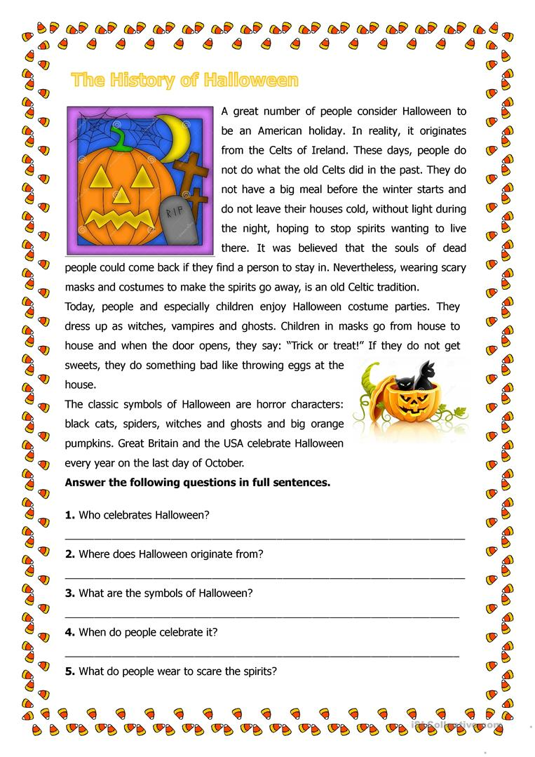 The History of Halloween worksheet Free ESL printable worksheets – Halloween Reading Worksheets