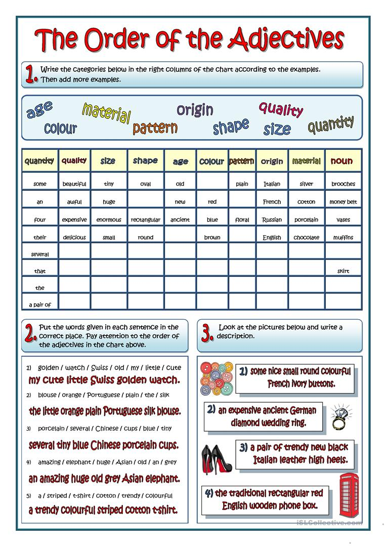 Uncategorized Order Of Adjectives Worksheet the order of adjectives worksheet free esl printable worksheets full screen