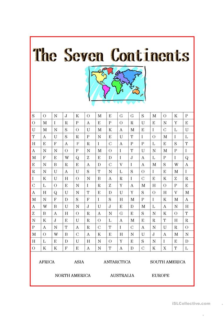Worksheets Seven Continents Worksheet the seven continents worksheet free esl printable worksheets made full screen