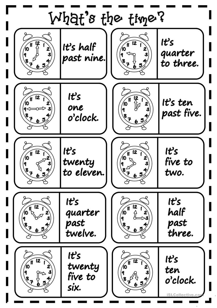Whats the time dominoes worksheet free esl printable full screen robcynllc Images