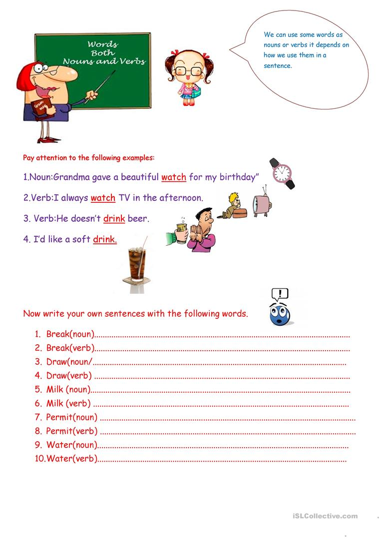 Words Both Nouns and Verbs. - English ESL Worksheets