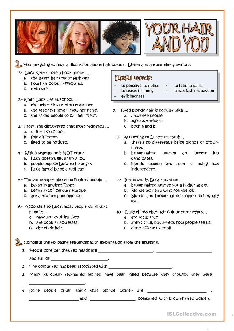 Your Hair And You Personality Worksheet Free Esl Printable