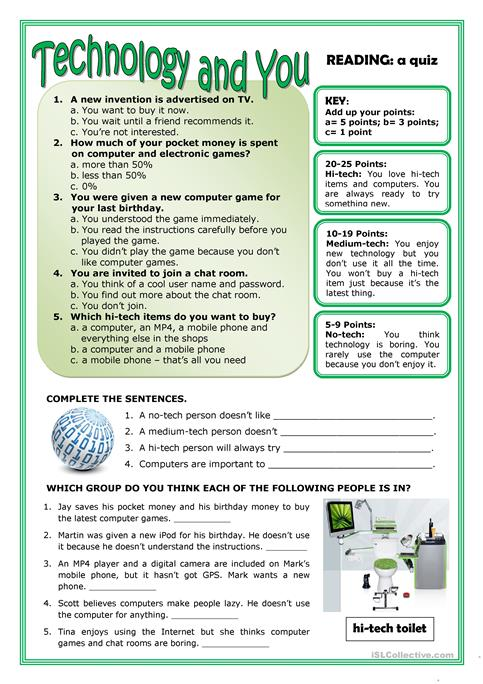 TECHNOLOGY AND YOU worksheet - Free ESL printable worksheets made by teachers