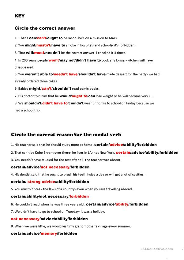 2 Page All Modal Verbs Review Plus KEY