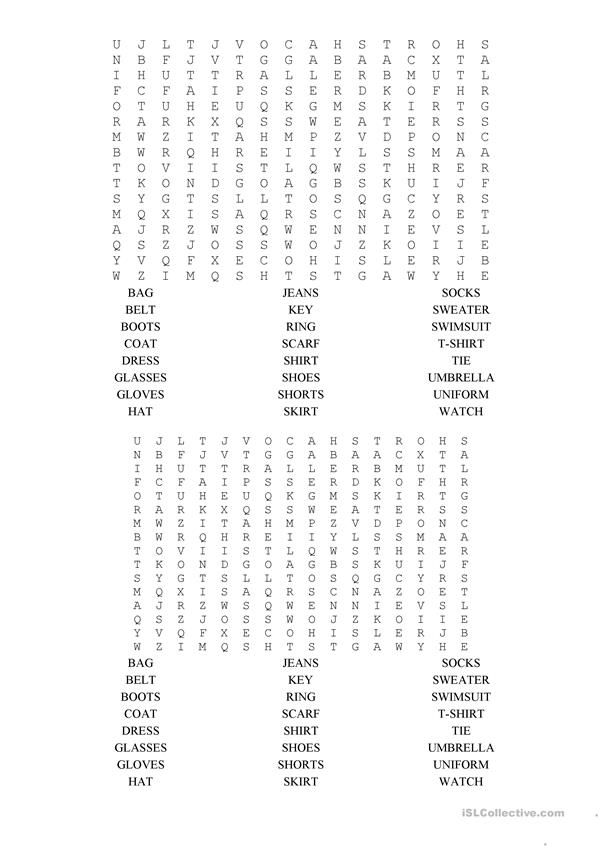 clothes and accessories word search