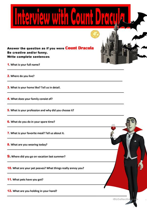 Answer Questions:Interview with Count Dracula