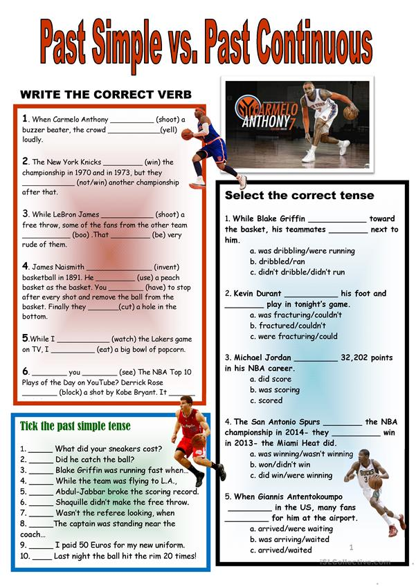 NBA Themed Past Tenses Review + Key