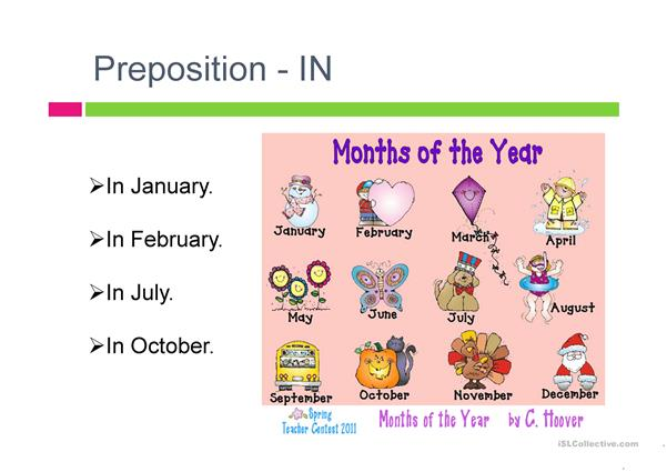 Prepositions IN-ON with days and dates