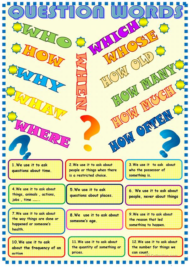 Question words poster and matching