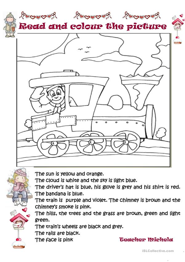 Read and colour the picture: the train