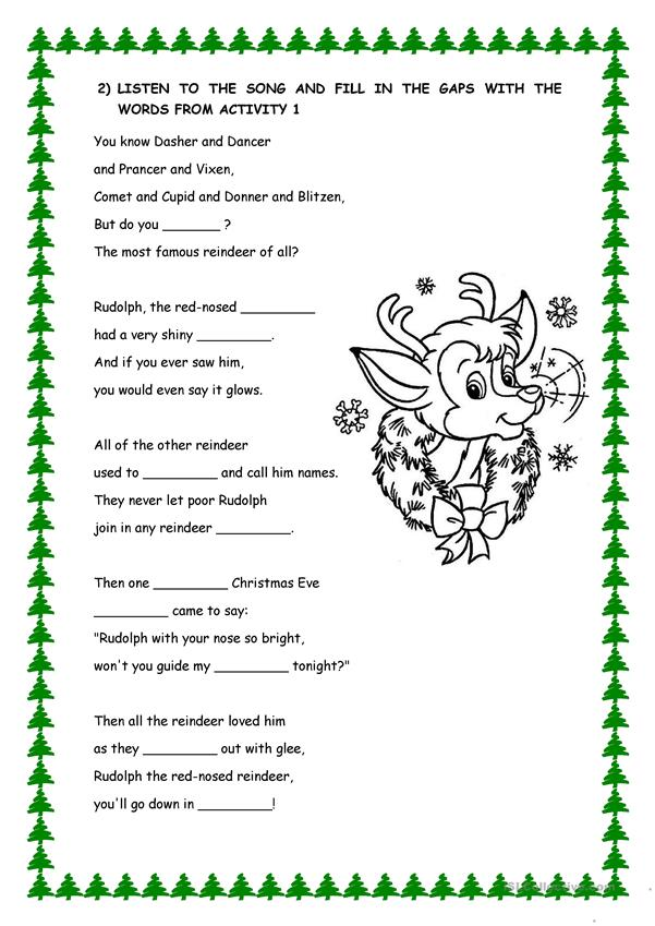 photo relating to Lyrics Rudolph the Red Nosed Reindeer Printable named Rudolf the crimson nosed reindeer LYRICS - English ESL Worksheets