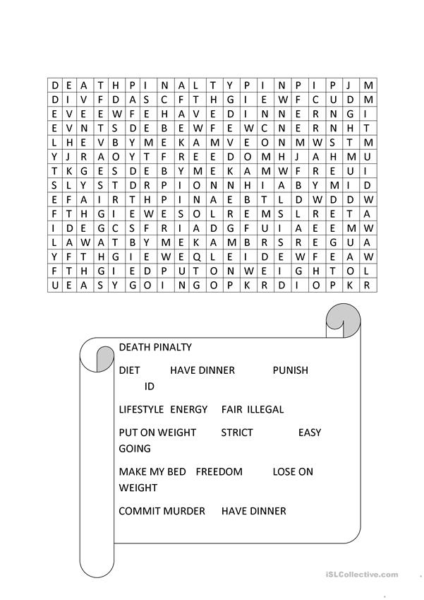 rules and regulation word search