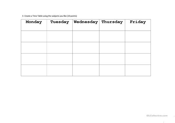 subjects days of the week