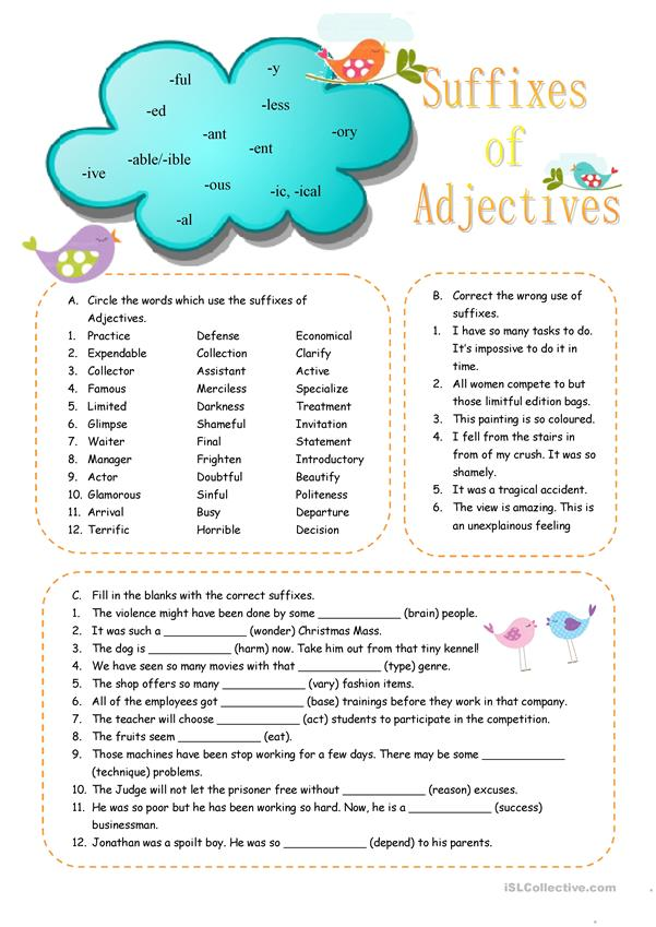 Suffixes of Adjectives