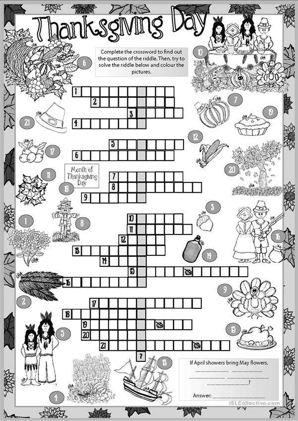 Thanksgiving Day CROSSWORD