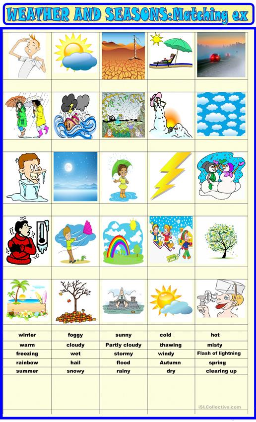 Weather and seasons matching activity