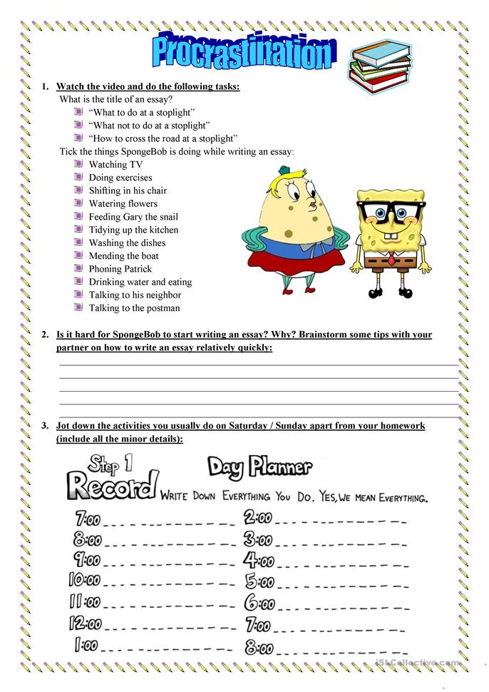 Printables Procrastination Worksheet a lesson on procrastination time management worksheet free esl printable worksheets made by teachers