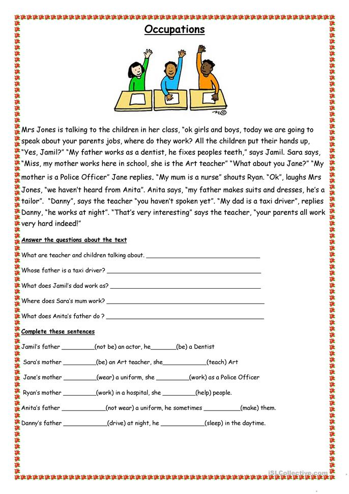 Printable Special Needs Worksheets : Classroom and occupations worksheet free esl printable