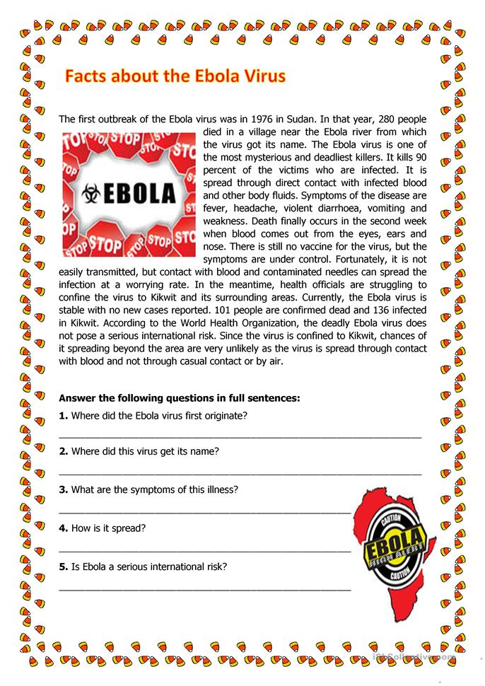 High School Reading Worksheets Printables : Facts about the ebola virus worksheet free esl printable