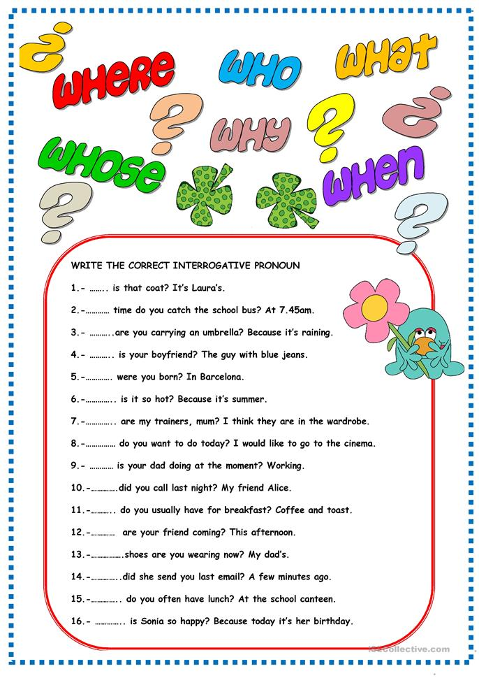 FREE ESL interrogative pronouns worksheets