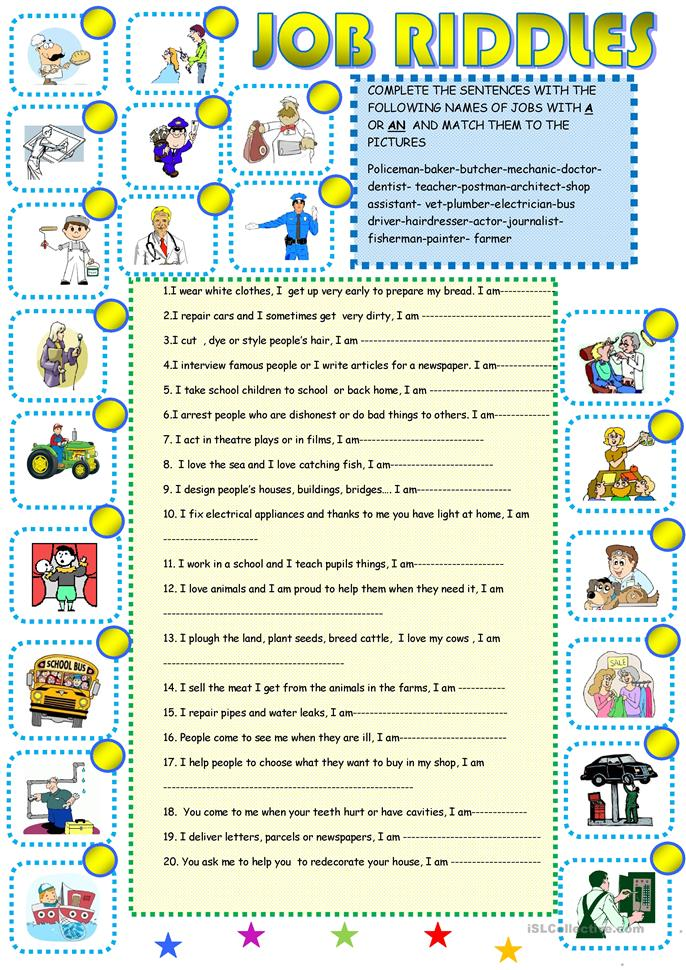 job riddles 1 worksheet free esl printable worksheets made by teachers. Black Bedroom Furniture Sets. Home Design Ideas