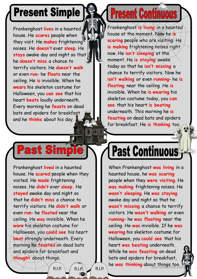 Ghost Story in Present and Past Tenses - ESL worksheets