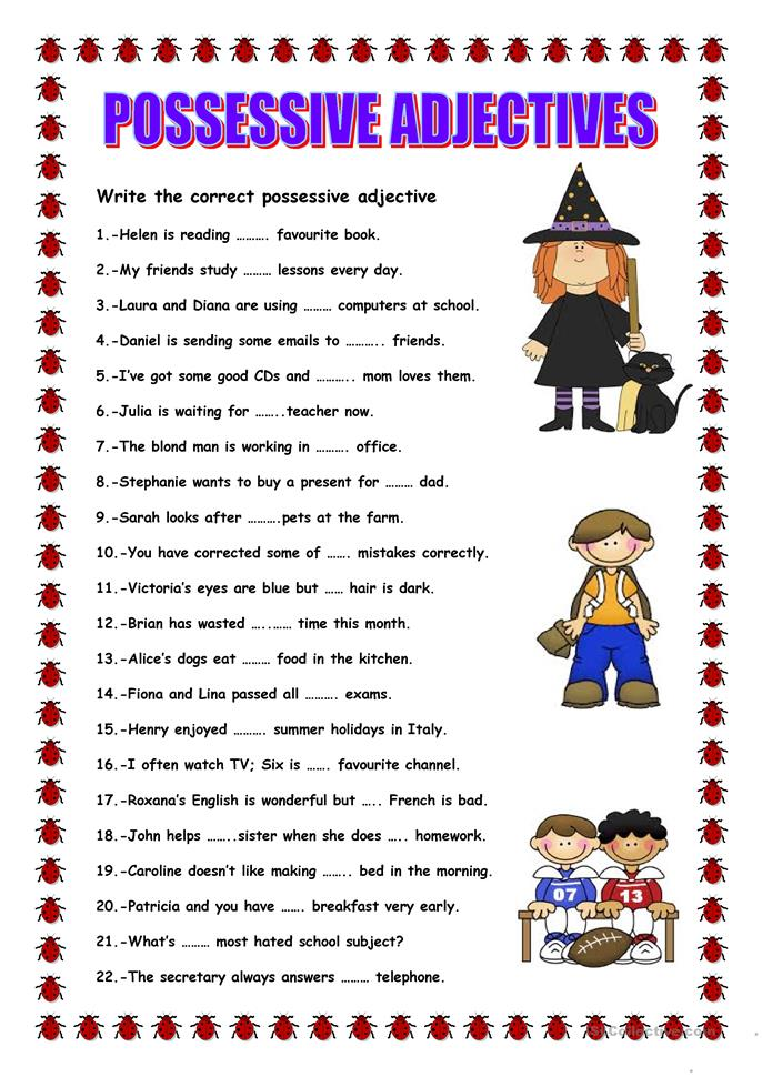 Possessive Adjectives Exercises Primary School - english ...