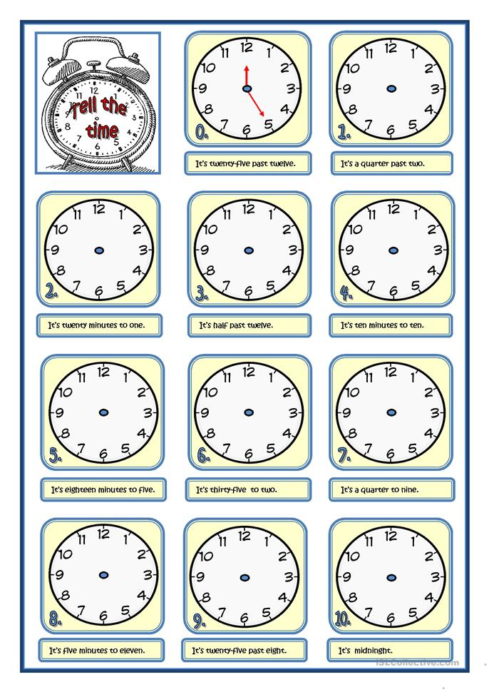 5 FREE ESL tell the time worksheets