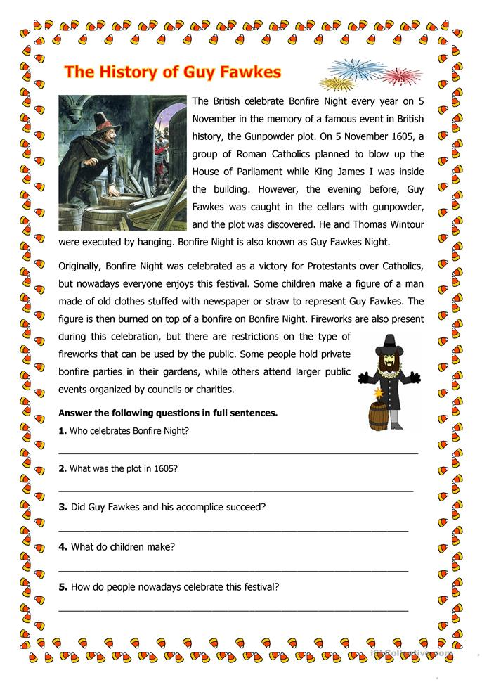 The History of Guy Fawkes - ESL worksheets