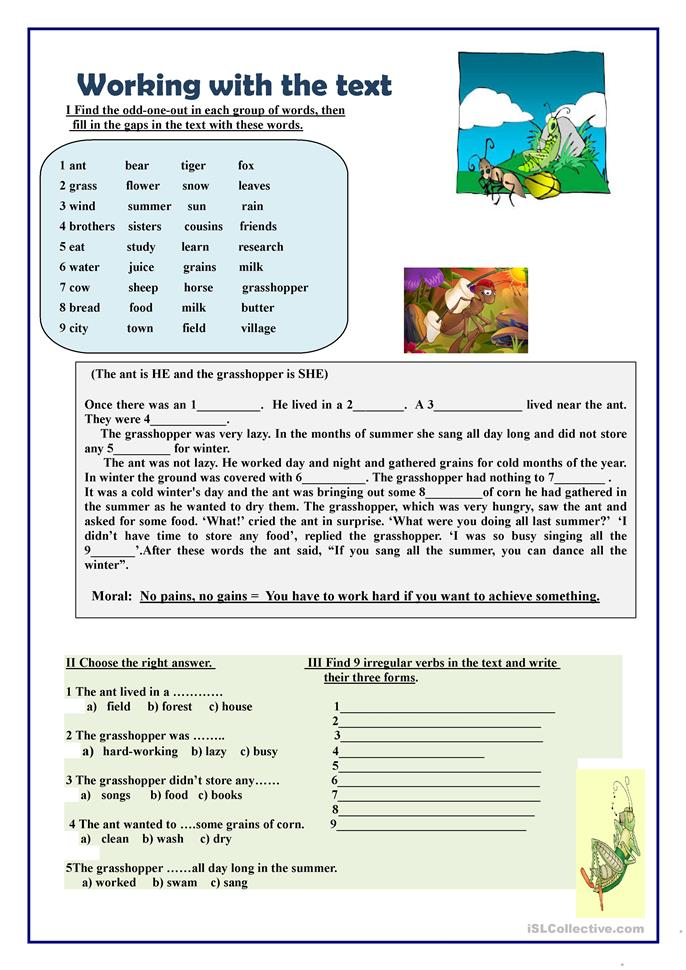 Preview A Text Worksheet : Working with the text worksheet free esl printable
