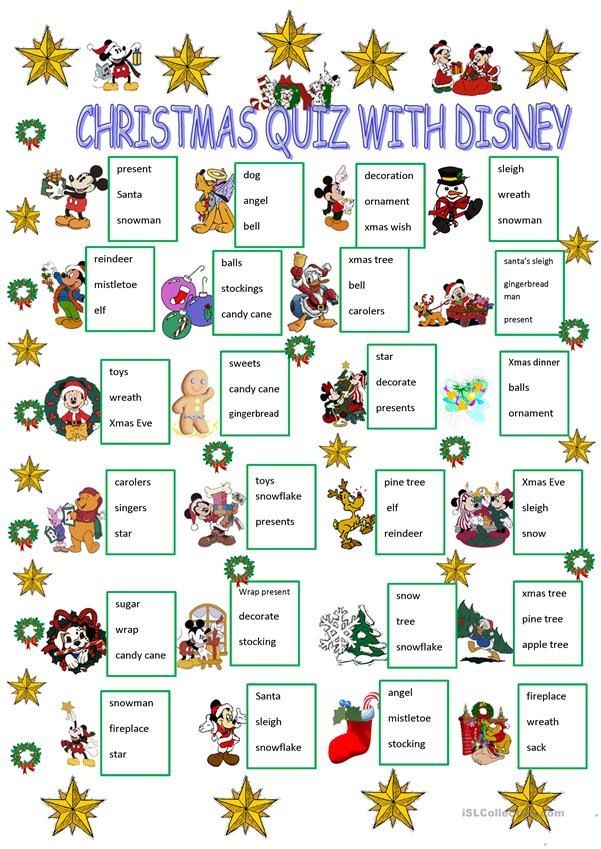 Christmas quiz with Disney characters worksheet - Free ESL ...