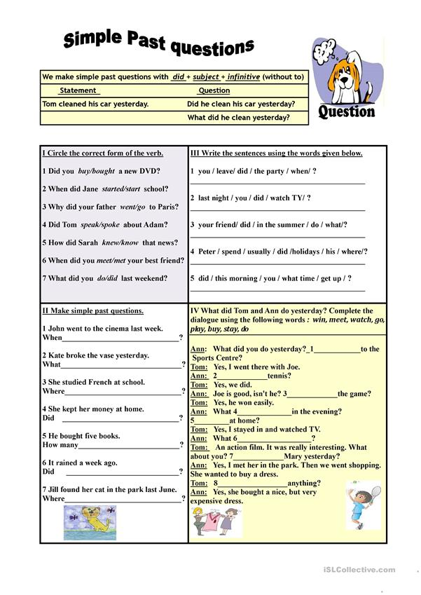 Simple Past questions (exercises) - English ESL Worksheets