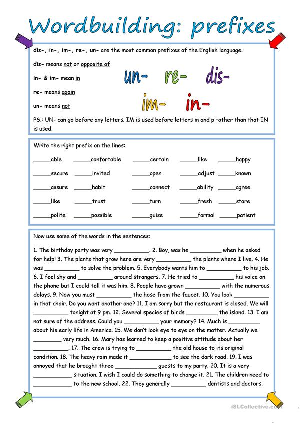 Wordbuilding Prefixes With Key English Esl Worksheets