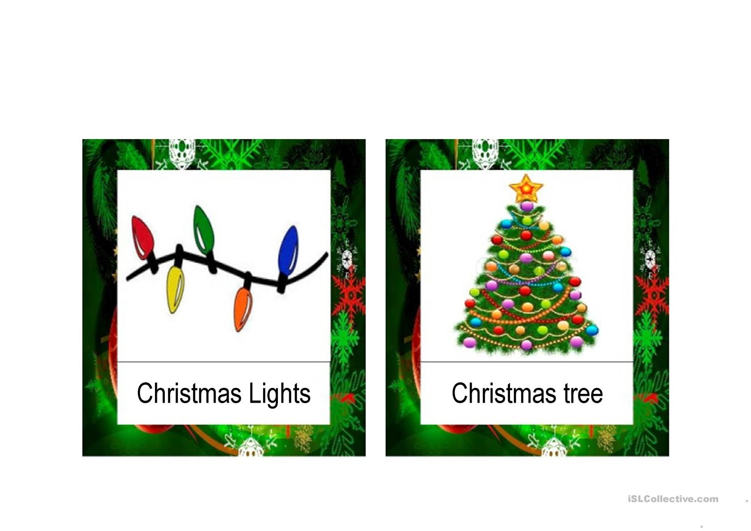 Christmas Vocabulary flashcards PPT worksheet - Free ESL projectable ...