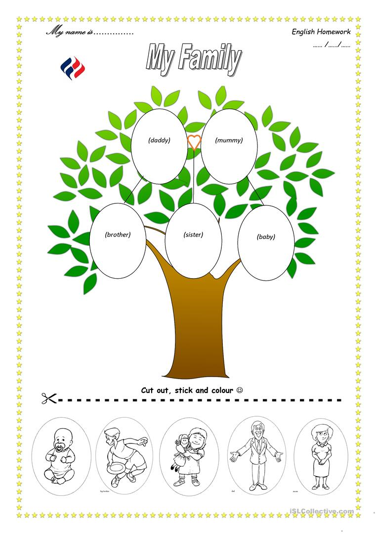 Family tree worksheet free esl printable worksheets made for Preschool family tree template