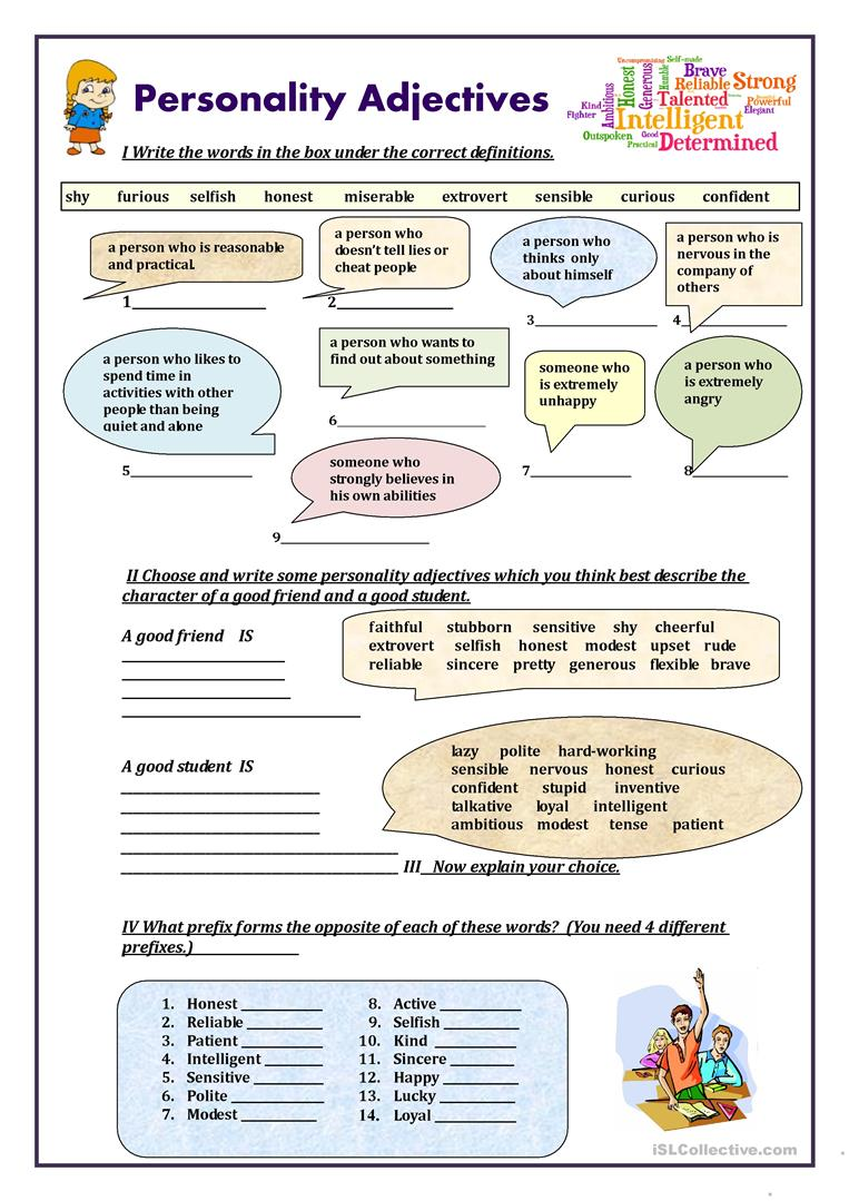 Worksheet Personality Adjectives For Children 232 free esl adjectives to describe personality and character adjectives