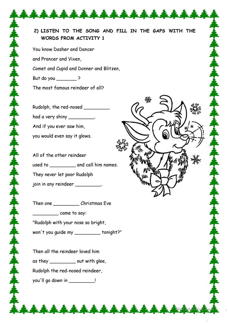 This is an image of Sly Words to Rudolph the Red Nosed Reindeer Printable