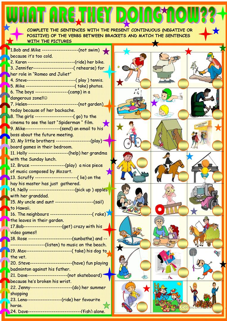 what are they doing now worksheet free esl printable