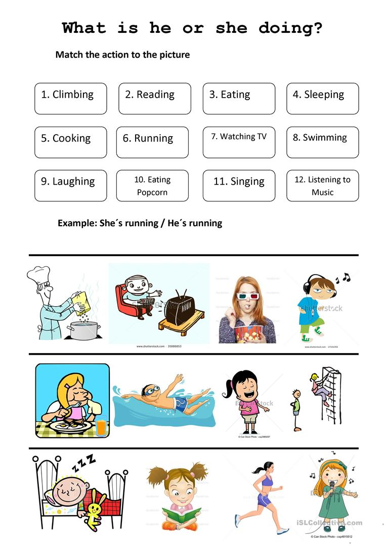 9 FREE ESL what is she doing worksheets – What is Worksheet