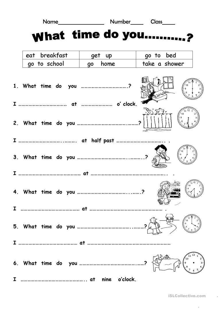 - What Time Do You? - English ESL Worksheets For Distance Learning