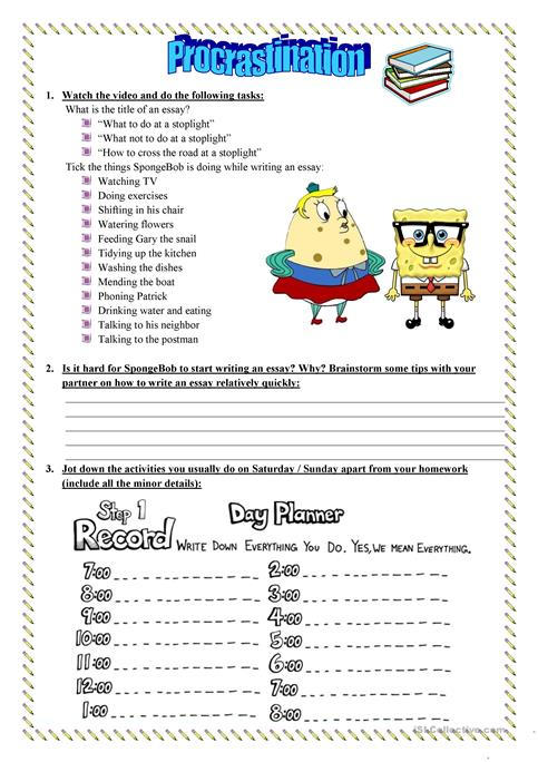 a lesson on procrastination time management - Time Management Worksheet