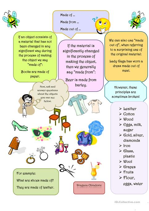 Made Of Or Made From Worksheet Free Esl Printable Worksheets Made