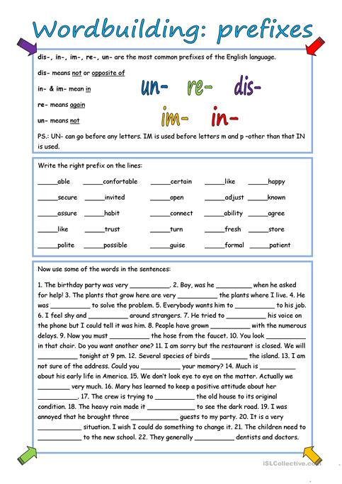 Wordbuilding Prefixes With Key Worksheet Free Esl Printable