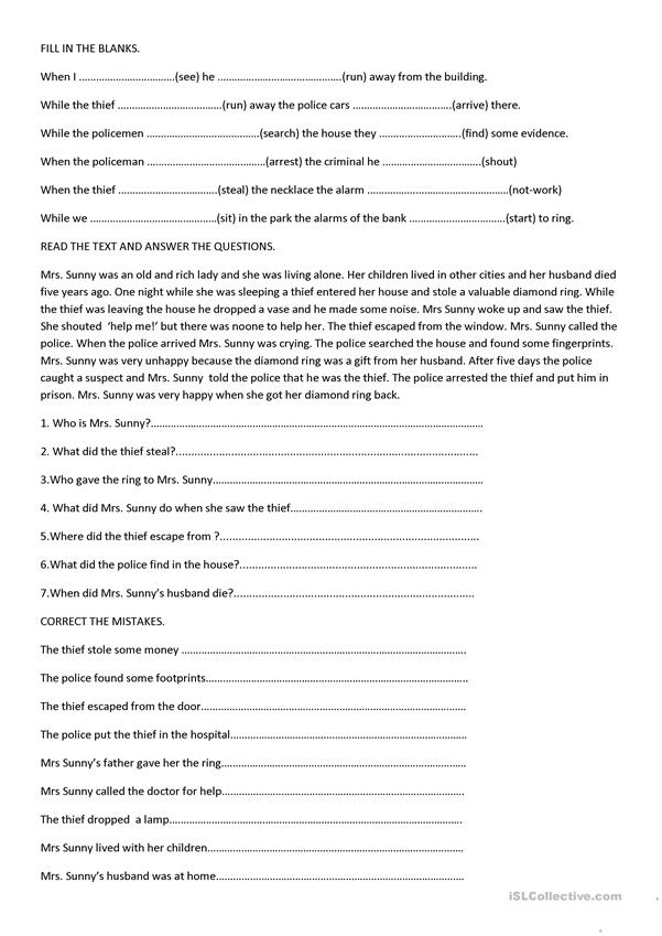 CRIME WORKSHEET