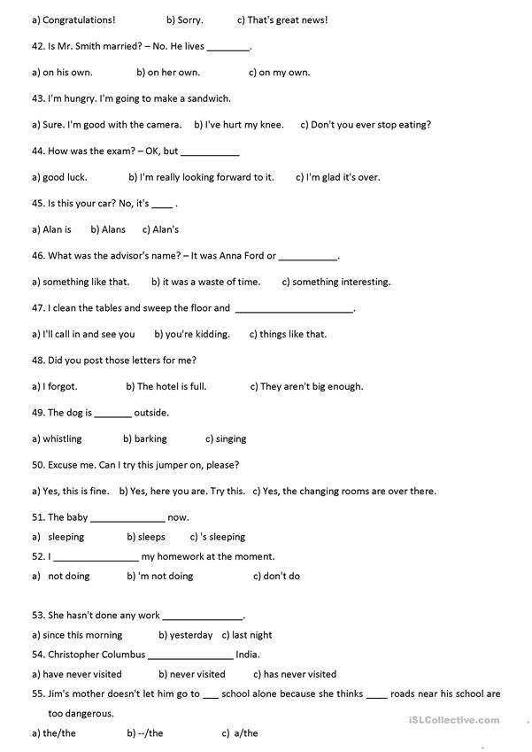 grammar and vocabulary test