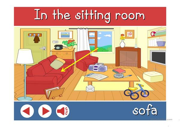 In the sitting room - vocabulary with sound