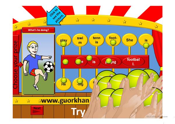 present continuous tense game