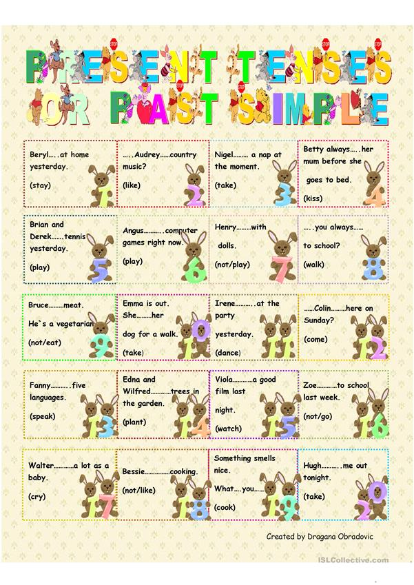 present tenses or past simple