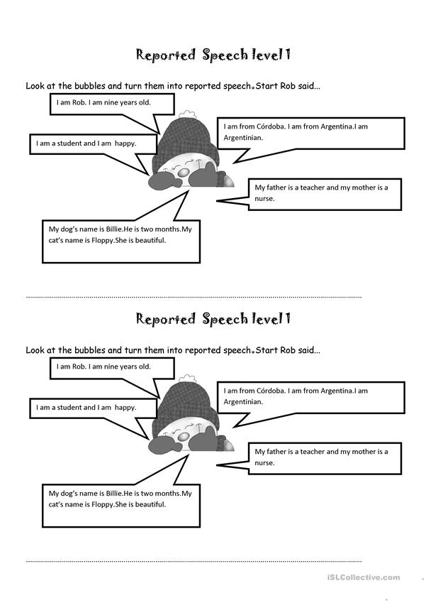 Reported  Speech level 1
