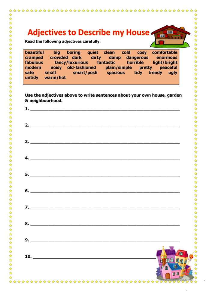 Adjectives To Describe My Home Worksheet Free Esl